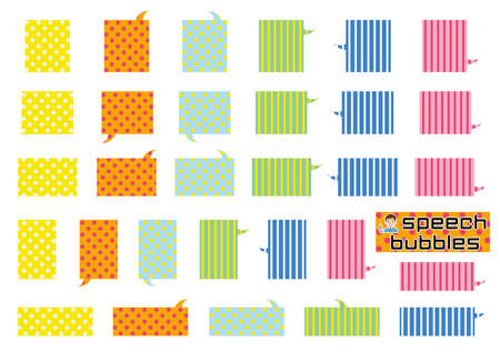 variety speech bubbles of angular rectangle - colorful polka-dot and stripe - vivid version