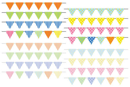 triangle flag set of polka-dot and stripe - colorful version -