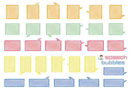 variety speech bubbles of angular rectangle - rough line and scribble color -