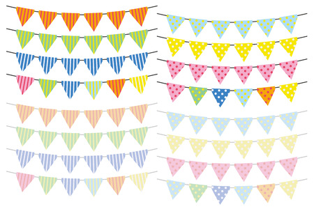 triangle flag set of polka-dot and stripe - colorful version - arch type