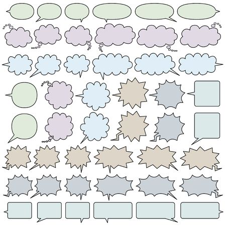comic speech bubbles of six kinds  - line and color -