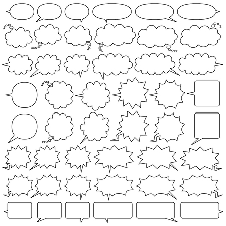 comic speech bubbles of six kinds  - only line drawing -