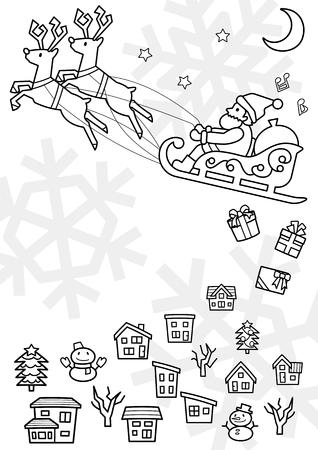 townscape plus Santa Claus who flies on a sled - line drawing - Illusztráció