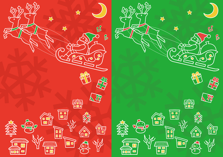 townscape plus Santa Claus who flies on a sled - white line drawing - red and green background