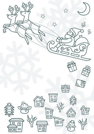townscape plus Santa Claus who flies on a sled - rough line drawing - Ilustrace