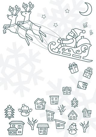 townscape plus Santa Claus who flies on a sled - rough line drawing - Illusztráció