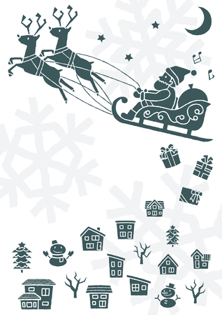 townscape plus Santa Claus who flies on a sled - monochrome silhouette -