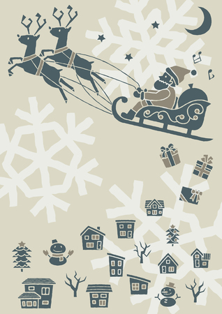 townscape plus Santa Claus who flies on a sled - modern silhouette -