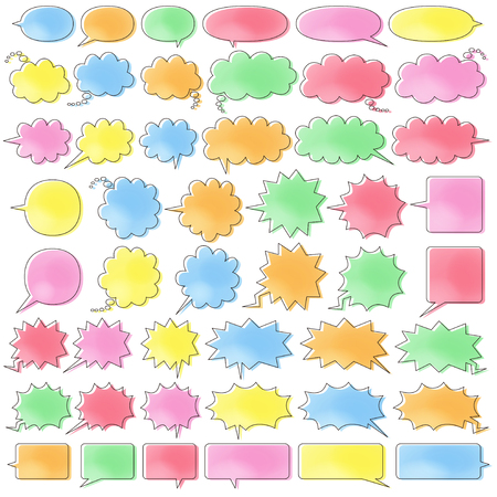 comic speech bubbles of six kinds  - color like a watercolor painting plus line which is moved -