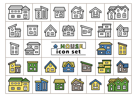 icon set of simple house - only line drawing  line drawing plus color -