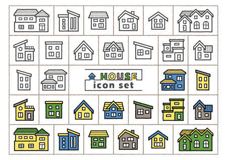 icon set of simple house - only hand writing style line drawing / hand writing style line drawing plus color -