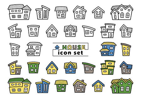 icon set of simple house - only line drawing  line drawing plus color - arc upper version