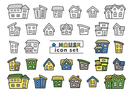 icon set of simple house - only hand writing style line drawing  hand writing style line drawing plus color - arc upper version