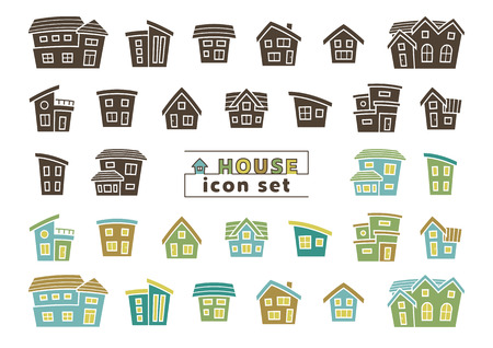 icon set of simple house - silhouette / color silhouette - arc upper version