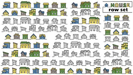 set of simple row house - only line drawing  line drawing plus color - Illusztráció