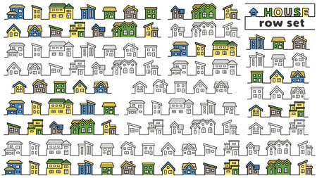 set of simple row house - only hand writing style line drawing  hand writing style line drawing plus color -