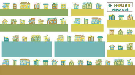 set of simple row house - color silhouette -