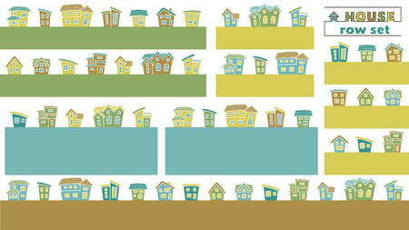 set of simple row house - color silhouette - arc upper version Illusztráció