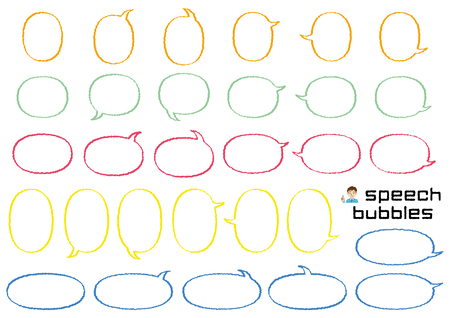 variety speech bubbles of ellipse - hand writing style line drawing - Ilustrace