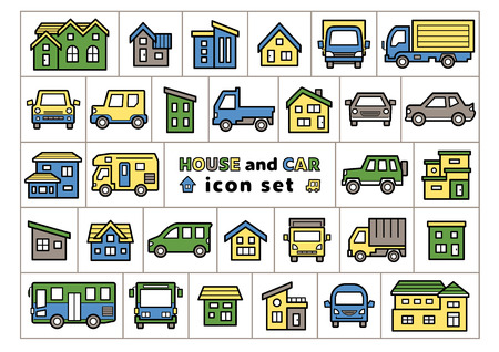 icon set of house and car - line drawing plus color - Ilustrace
