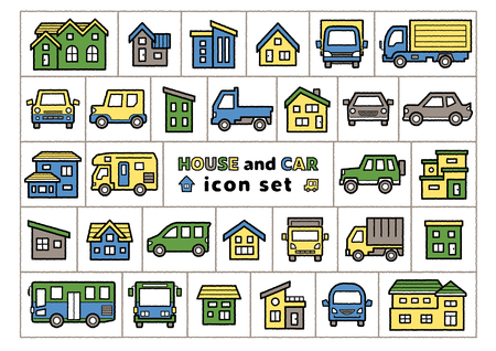 icon set of house and car - only hand writing style line drawing plus color - Illusztráció