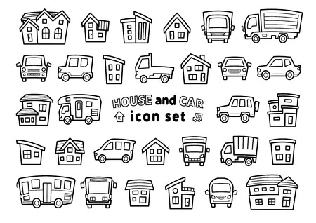 icon set of house and car - only line drawing - arc upper version