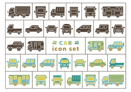 icon set of car - silhouette / color silhouette - Illustration