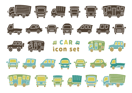 icon set of car - silhouette / color silhouette - arc upper version