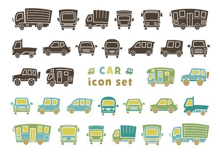 icon set of car - silhouette / color silhouette - arc upper version