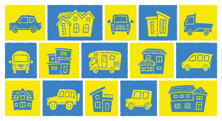 icon gallery of house and car - print style processing - arc upper version Illustration