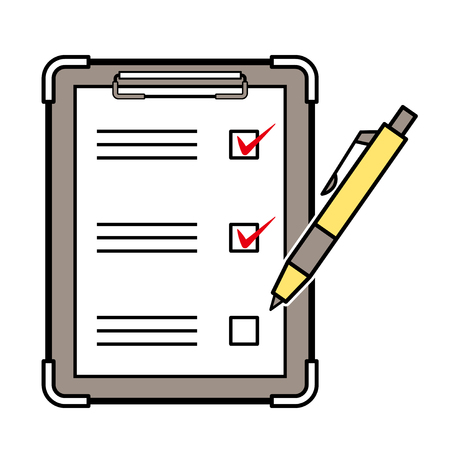 checklist and ballpoint pen