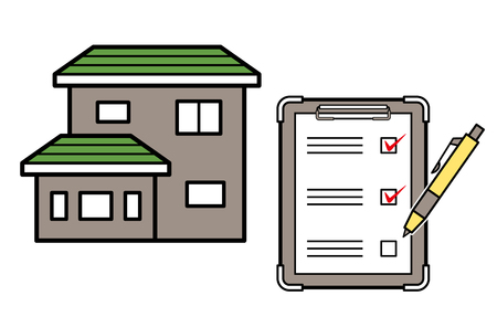 house and checklist and ballpoint