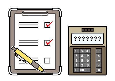 checklist and electronic calculator Çizim