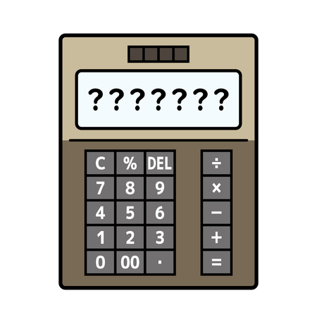 electronic calculator whose screen is question mark Illustration