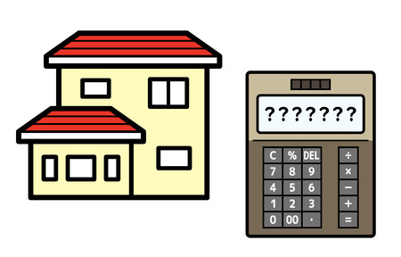 house and electronic calculator 向量圖像