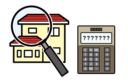 house and magnifying glass and electronic calculator 写真素材 - 126159783