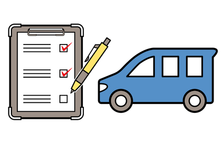 car and checklist and ballpoint Ilustrace