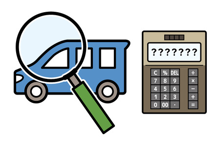 car and magnifying glass and electronic calculator Ilustrace