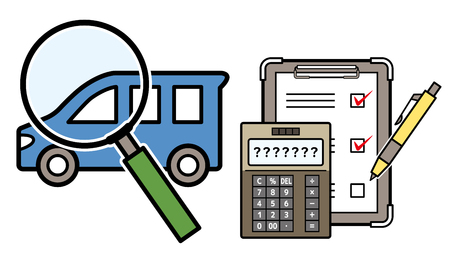 car and magnifying glass and electronic calculator and checklist