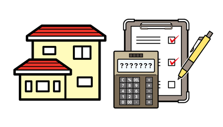 house and electronic calculator and checklist
