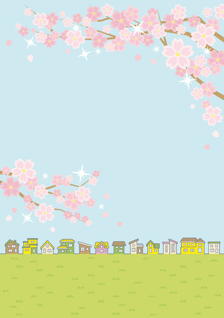 Illustration of the vernal rural scenery with the cherry blossoms - row of houses and sky and grassy plain -