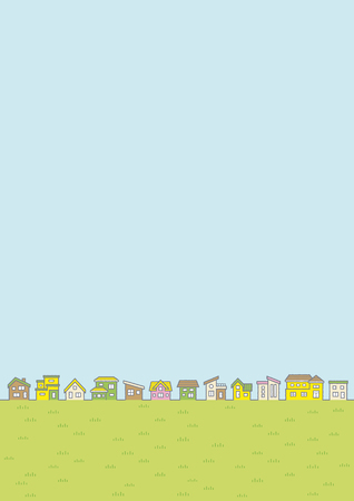 Illustration of the vernal rural scenery - row of houses and sky and grassy plain -