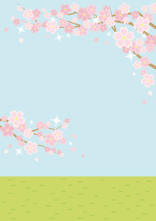Illustration of the vernal scenery with the cherry blossoms - sky and grassy plain - Çizim