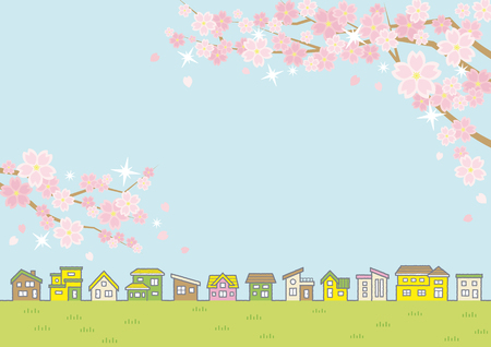 Illustration of the vernal rural scenery with the cherry blossoms - row of houses and sky and grassy plain - for horizontal writing of landscape format Illustration