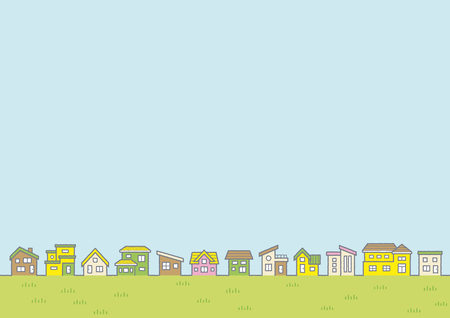 Illustration of the vernal rural scenery - row of houses and sky and grassy plain - for horizontal writing of landscape format