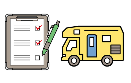 caravan and checklist and ballpoint