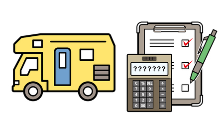 caravan and electronic calculator and checklist