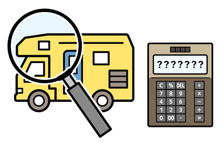 caravan and magnifying glass and electronic calculator