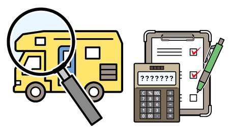 caravan and magnifying glass and electronic calculator and checklist Illustration