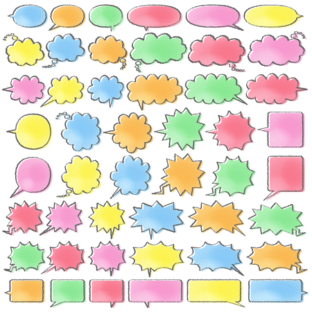 6 kinds of cartoon style speech bubbles  - color like a watercolor painting plus hand writing style line which is moved -